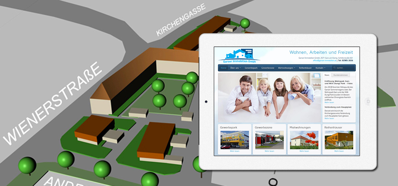 webdesign f r garser immobilien gmbh linomedia werbeagentur. Black Bedroom Furniture Sets. Home Design Ideas