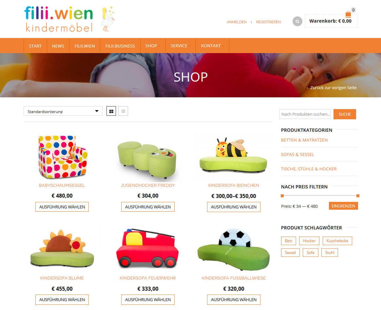 Onlineshop WooCommerce filii.wien