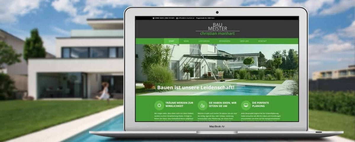 Screenshot Portfolio Manhart Bau