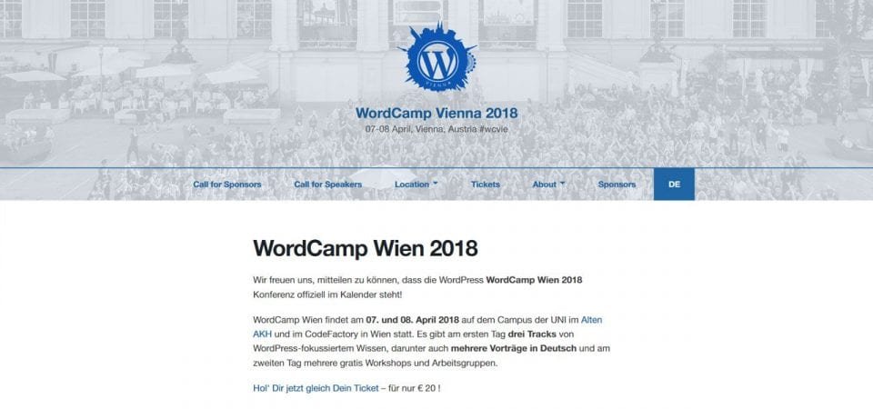 Screenshot Webseite WordCamp Vienna 2018
