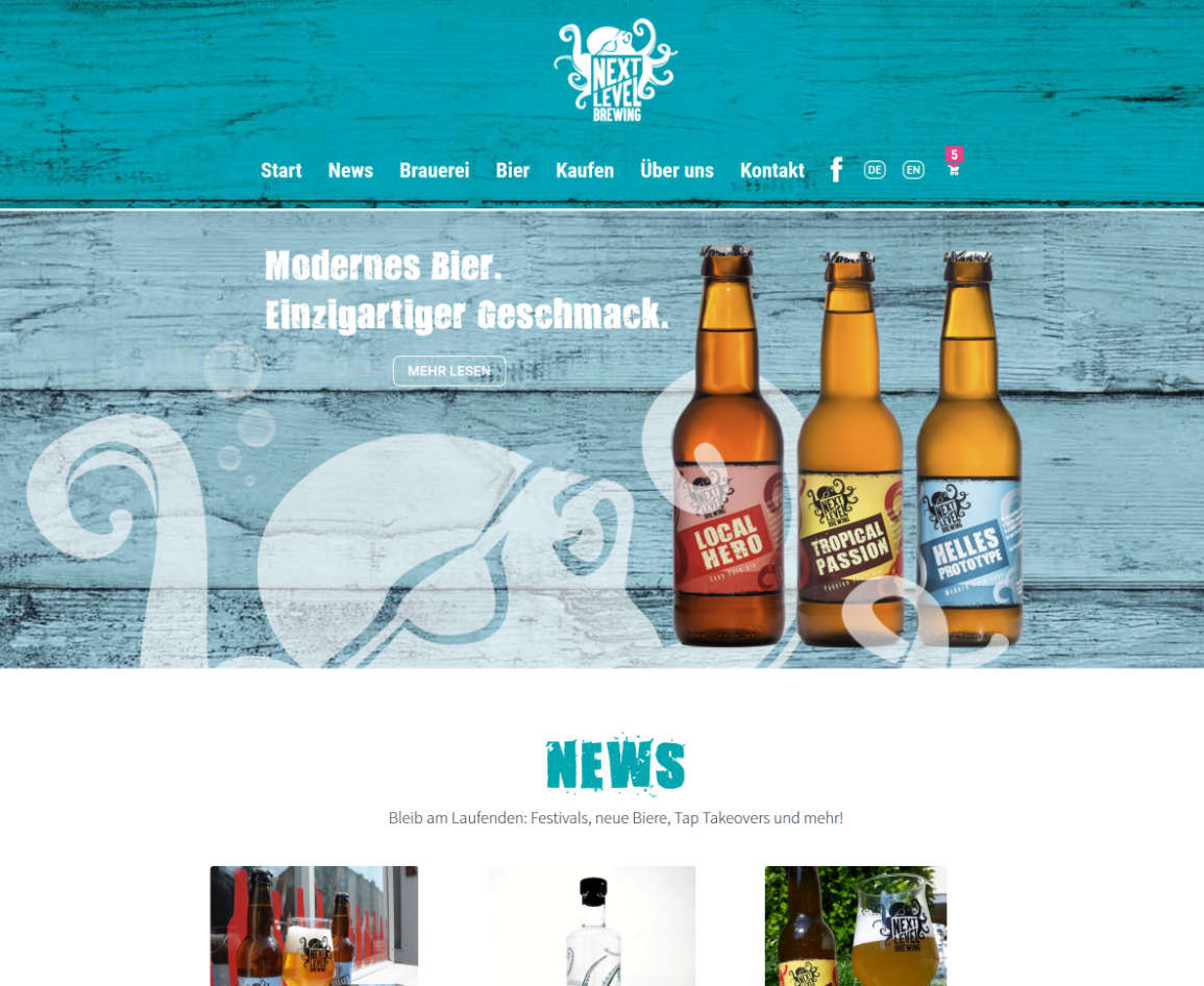 Webdesing Next Level Brewing Shop