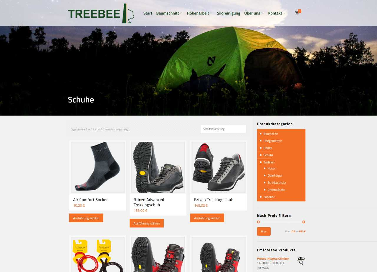 Screenshot Onlineshop TreeBee