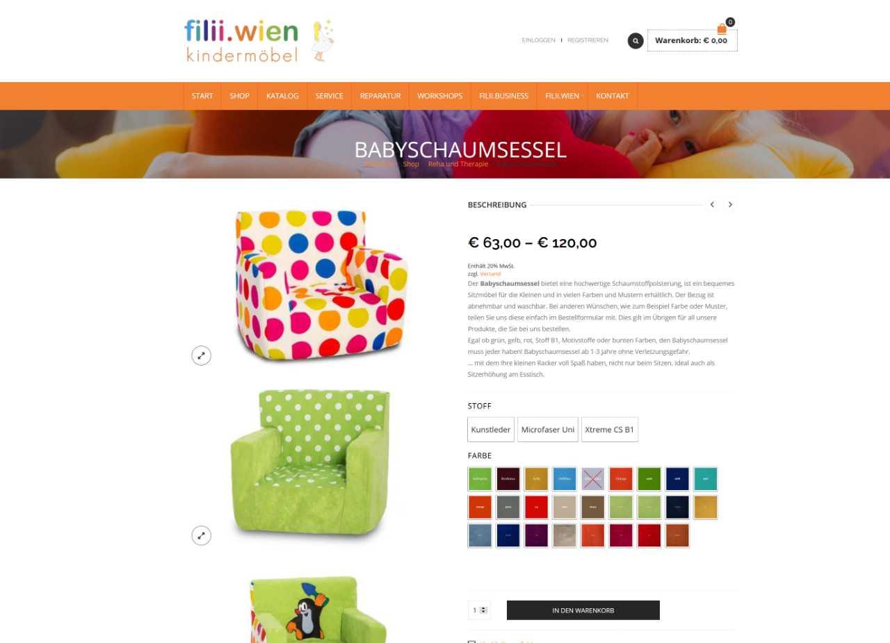 Screenshot Onlineshop filii.wien